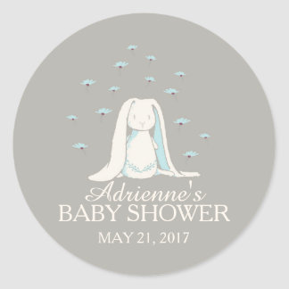 Sweet Bunny Boys Baby Shower Sticker