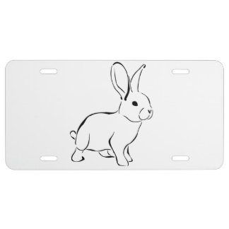 Sweet Bunny Cartoon Adorable Rabbit License Plate