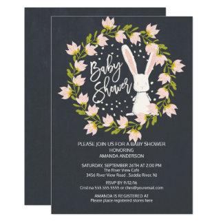 Sweet Bunny Girls Baby Shower Invitation