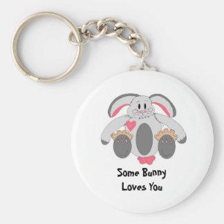 Sweet Bunny Basic Round Button Keychain