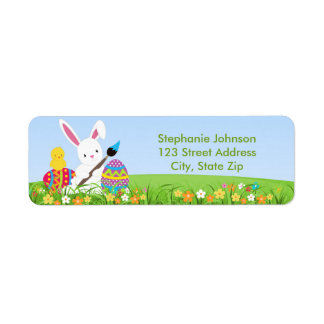 Sweet Bunny Paint Easter Eggs Address Label