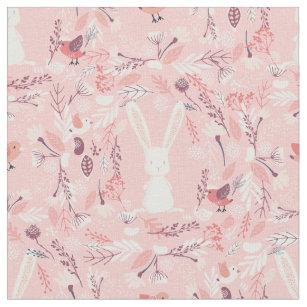 Sweet Bunny Pink Fl Nursery Fabric