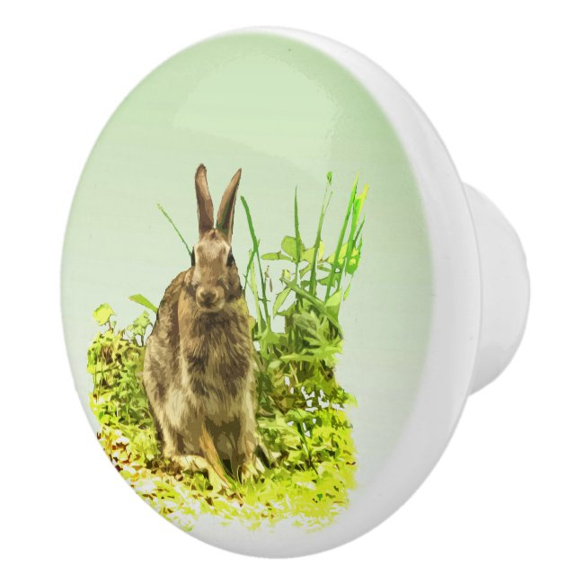 Sweet Bunny Rabbit in Grass Ceramic Knob