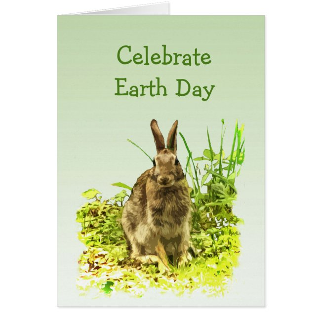 Sweet Bunny Rabbit in Grass Earth Day Card