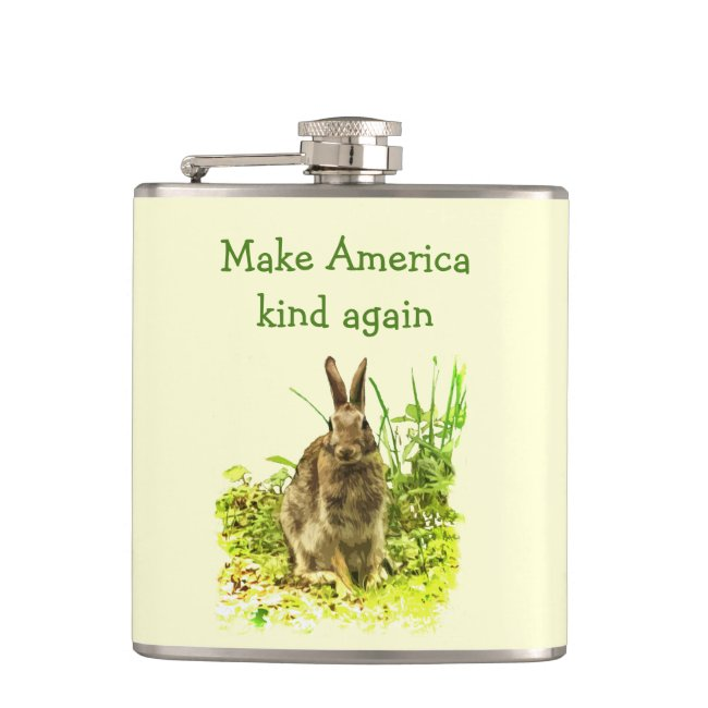 Sweet Bunny Rabbit Make America Kind Again Flask