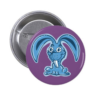 sweet bunny sitting on the ground funny cartoon button
