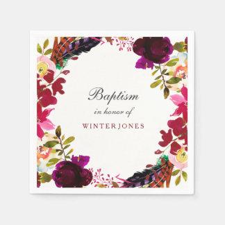 Sweet Burgundy Purple Floral Wreath Baptism Paper Napkin