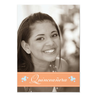 Sweet Butterflies Quinceanera Invitation (coral)