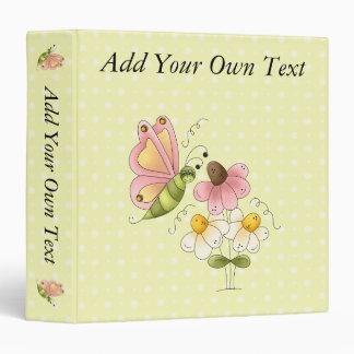 Sweet Butterfly Add Your Own Text 1.5 inch Binder