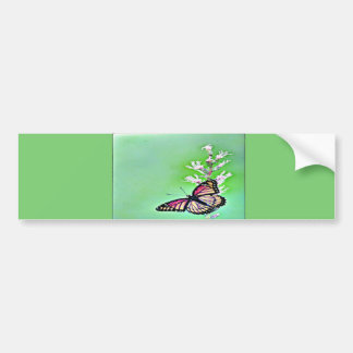 Sweet Butterfly and Flowers Bumper Sticker