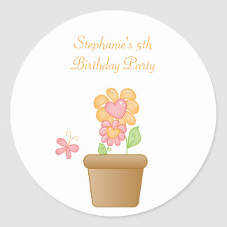 Sweet butterfly garden birthday party stickers
