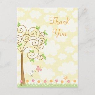 Sweet butterfly garden girl's thank you postcard postcard