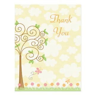 Sweet butterfly garden girl's thank you postcard