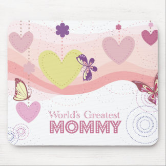 Sweet butterfly hearts world's greatest mommy mouse pad