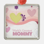 Sweet butterfly hearts world's greatest mommy christmas ornament