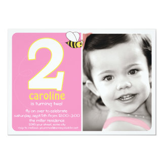 Sweet Buzzy Bee Two Year Photo Invite