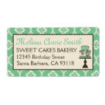 Sweet Cake Business Shipping Label Teal