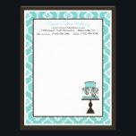 "Sweet Cake Letterhead Turq<br><div class=""desc"">Elegant cake with damask print.</div>"