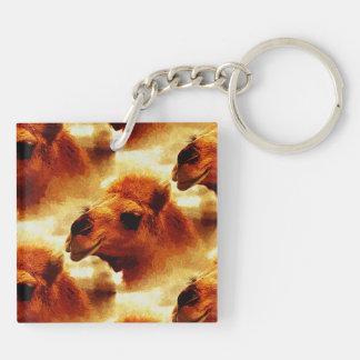 Sweet Camel Face Square Acrylic Keychain