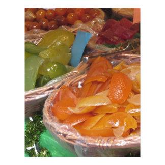 Sweet candied fruit peels . Italian recipe Letterhead