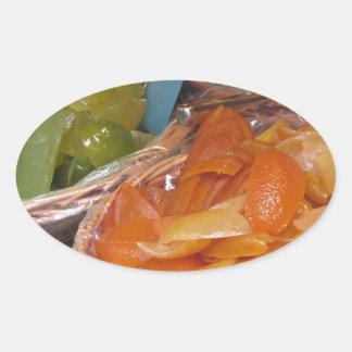 Sweet candied fruit peels . Italian recipe Oval Sticker
