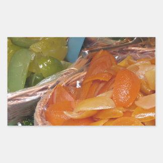 Sweet candied fruit peels . Italian recipe Rectangular Sticker