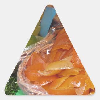 Sweet candied fruit peels . Italian recipe Triangle Sticker
