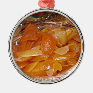 Sweet candied orange peels . Italian recipe Metal Ornament