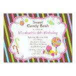"Sweet Candy Bash Girl Birthday Party Invitation 5"" X 7"" Invitation Card"