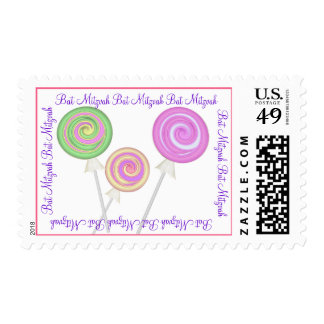 Sweet Candy Bat Mitzvah Lollipops Stamps