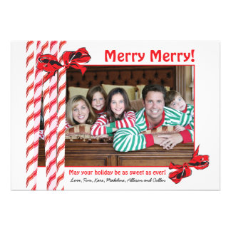 Sweet Candy Cane Christmas Photo Card Personalized Invitations