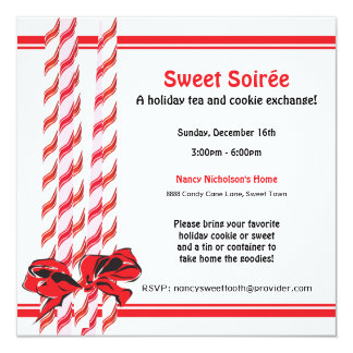 Sweet Candy Cane Holiday Party Card