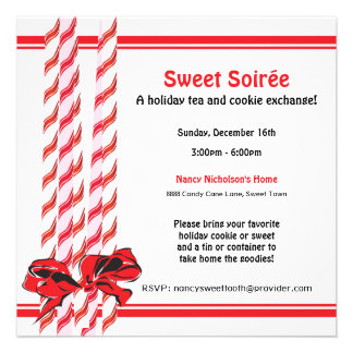 Sweet Candy Cane Holiday Party Personalized Announcement
