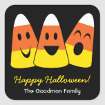 Sweet candy corn fun cute Halloween favor tag Square Stickers