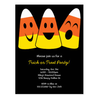 Sweet candy corn trick or treat Halloween party Postcard