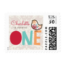 Sweet Candy Damask Chick Girl 1st Birthday Stamps