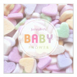 Sweet Candy Hearts Neutral Baby Shower invitation