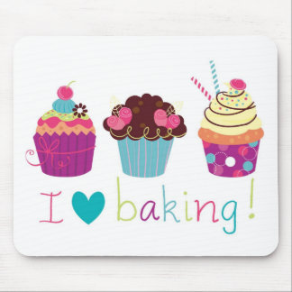 Sweet Candy I Love Baking Cupcakes mousemat Mouse Pad