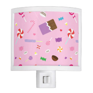 Sweet Candy Pink Pattern For Girls Room Night Light