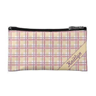 Sweet candy pink with soft yellow tartan pattern cosmetic bag