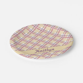 Sweet candy pink with soft yellow tartan pattern paper plate
