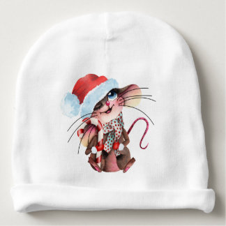 Sweet cap for Christmas mice Baby Beanie