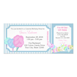 Sweet Carnival Birthday Ticket 4x9.25 Paper Invitation Card