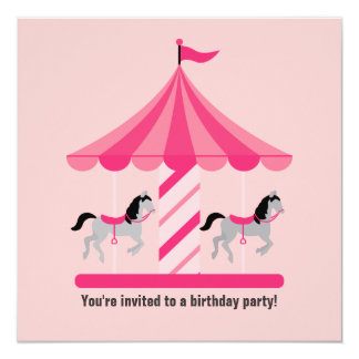Sweet Carousel Birthday Invitation