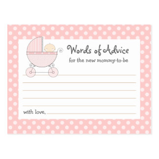 Sweet Carriage Mommy Advice Card Baby Shower Card