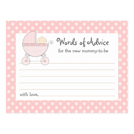 Baby Shower Tips For New Moms: Sweet Carriage Mommy Advice Card Baby Shower Card