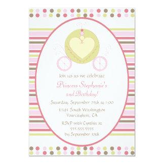 Sweet carriage princess party birthday invitation