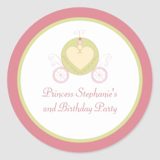 Sweet carriage princess party birthday stickers sticker