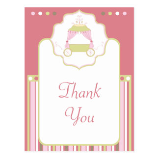 Sweet carriage princess party thank you postcard