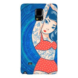 sweet cartoon bikini tatoo girl red galaxy note 4 case